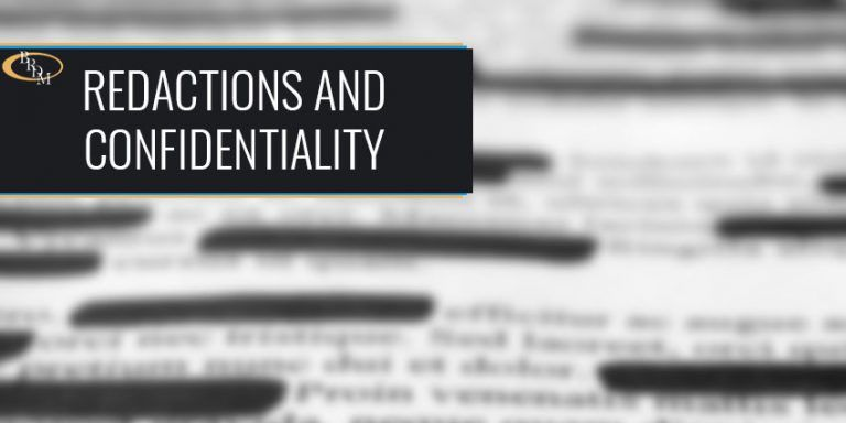 Redactions and Confidentiality